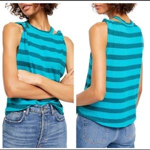 We The Free Jungle Teal Striped Tank Top